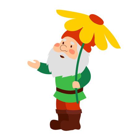 A garden gnome holding a flower