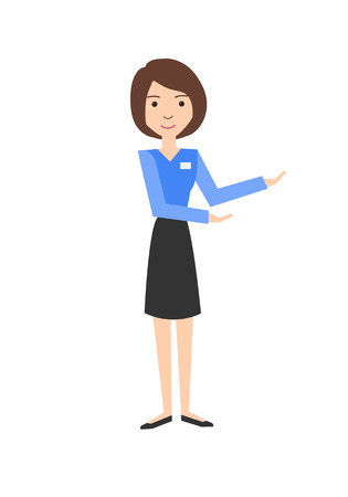 Profession: saleswoman. Isolated on white background. Vector illustration