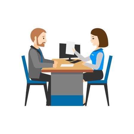 Der Mitarbeiter der Bank berät den Kunden. Ein Mann und eine Frau hinter einem Schreibtisch. Finanzberater. Vektorgrafik