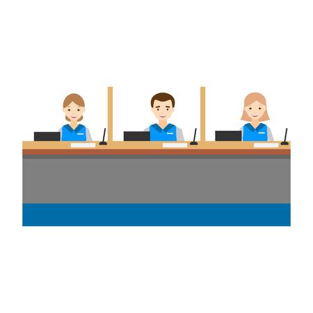 Bank operators behind the counter flat design.