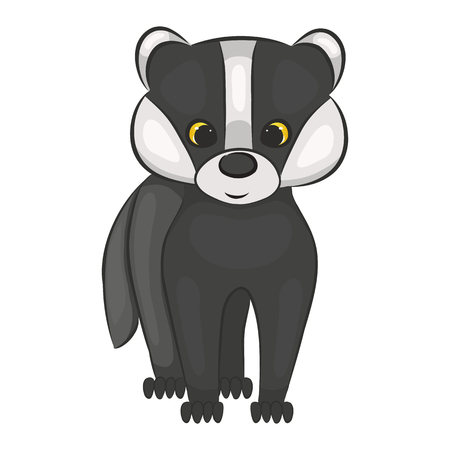 Cute cartoon badger cub. Forest animal. Isolated on a white background. Vector illustration. Zdjęcie Seryjne - 91445576