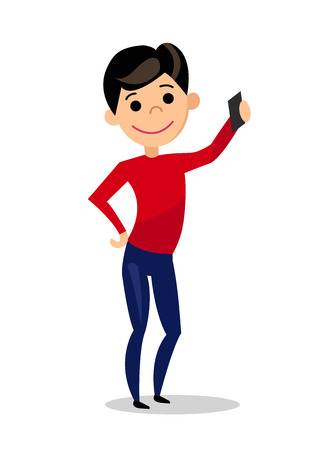 Guy doing selfie. The boy is photographed. Man with phone isolated on white background. Flat style. Vector illustration. Vectores