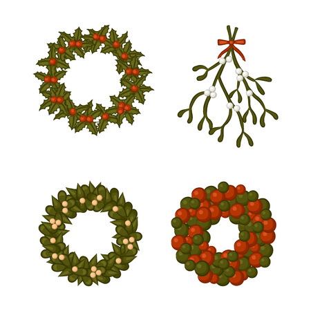 Set of Christmas wreath and a bough of mistletoe. Isolated objects on white background. Vector illustration