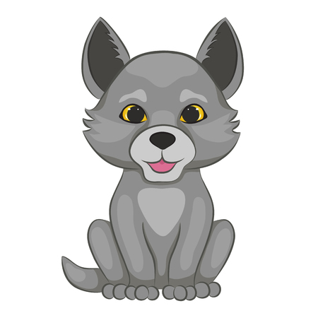 Cute cartoon wolf cub. Forest animal. Isolated on a white background. Vector illustration.