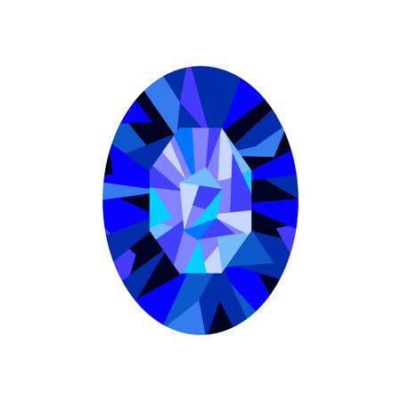 Sapphire isolated on a white background. Vector illustration. Çizim