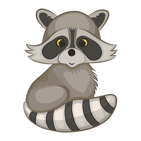 Cute cartoon raccoon illustration. Vettoriali
