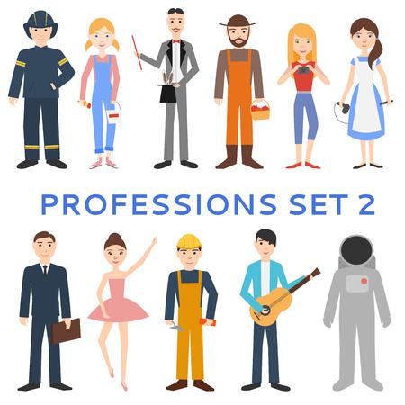 Professions, uniforms, job. Set of vector icons. Ilustração