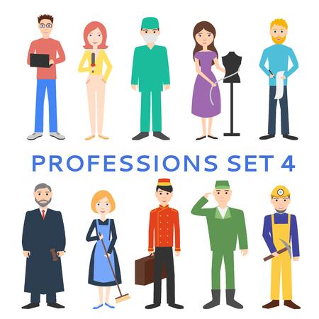 Professions, uniforms, job. Set of vector icons. Çizim