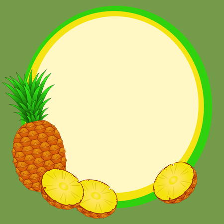 Round frame with pineapple and cut slices Vector illustration.