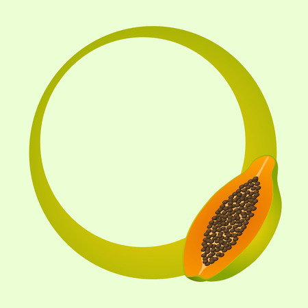 Round green frame with papaya. Vector illustration.