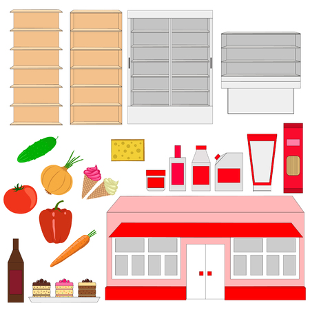 Supermarket. Storefronts and products. vector