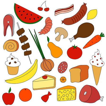 Food Icons set Vector illustration on white background.