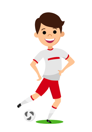 The player kicks the ball. Young man in his football uniform. Vector illustration.