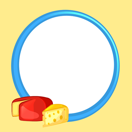 Blue frame with decorated cheese Vector illustration. Çizim
