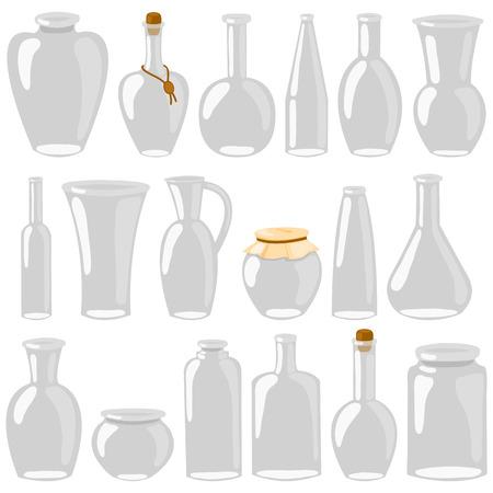 Frascos de vidro vazios e garrafas. Decantadores de desenhos animados, garrafas, latas, frascos. Um conjunto de vidro isolado no fundo branco. Ilustração vetorial Foto de archivo - 91603631