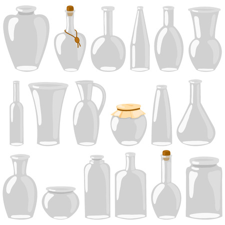 Empty glass jars and bottles. Cartoon decanters, bottles, cans, flasks. A set of glass isolated on white background. Vector illustration.