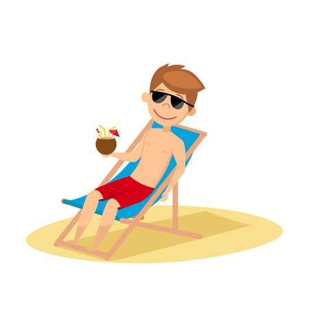 The man lies in the chaise longue. Young guy in sunglasses sunbathing on the beach. Vector illustration.