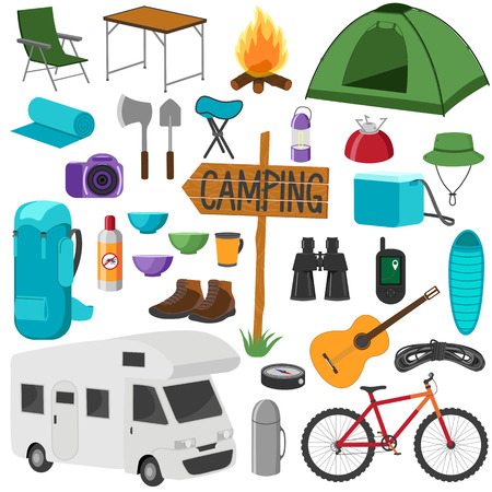 Set of camping equipment symbols. Hike collection. Icons set isolated on white background. Vettoriali