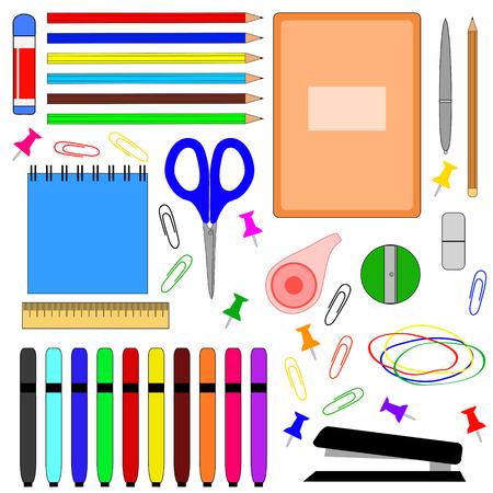 Schoolbenodigdheden, vectorillustratie.