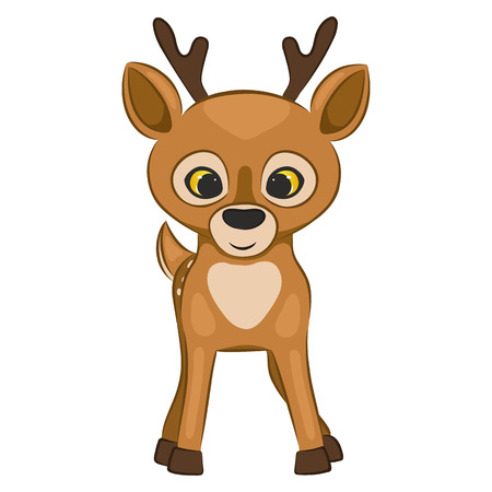 Cute cartoon deer cub. Forest animal. Isolated on a white background. Vector illustration. Ilustrace