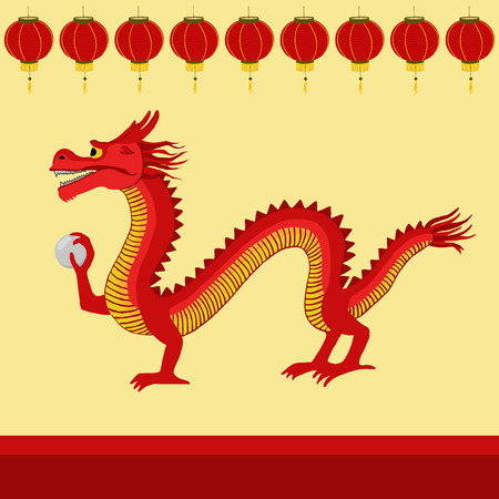 Red Chinese dragon illustration.