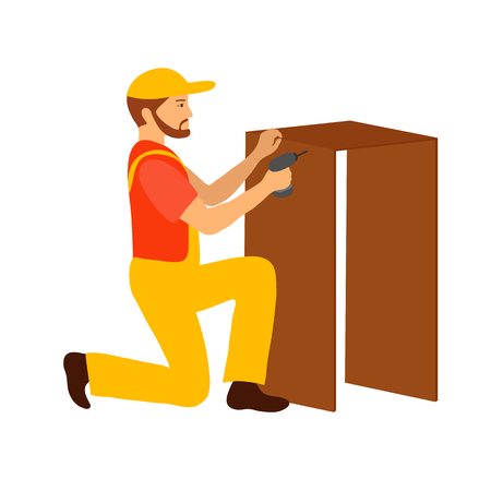 Collector of furniture. Carpenter. Vector illustration.