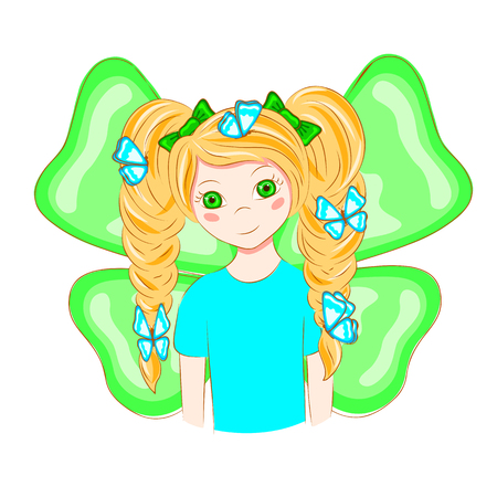 Cartoon girl with butterflies in her hair. The girl with the ponytails. Girl with butterfly wings. Sweet girl. T-shirt graphics. Vector illustration. Illustration