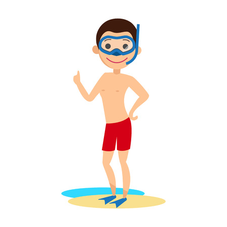 Young man in a swimming mask with snorkel and fins