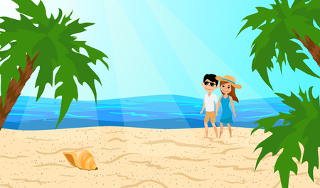 Loving couple walking on sandy beach. Guy and girl are on the coast. Honeymoon on a tropical island. Vector illustration.