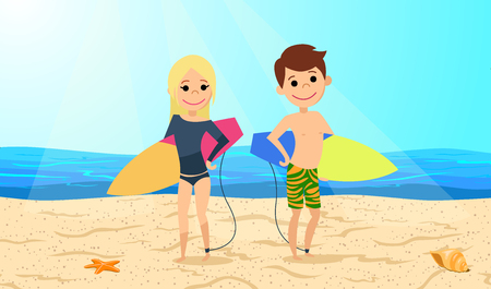 Surfers. Boy and girl with cards for windsurfing are at the beach. Иллюстрация