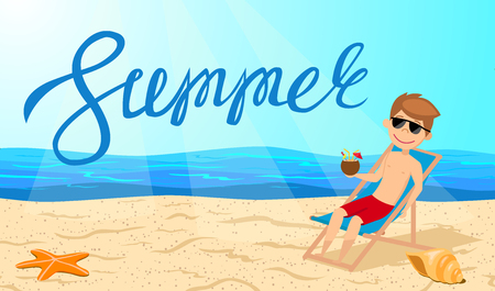 Man with a cocktail in hand, basking in the sun loungers on the beach. Vacation in the tropics. Summer. Vector illustration.