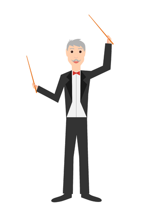 Profession: conductor. Isolated on white background. Vector illustration. Stock Illustratie