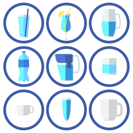 Water set. Flat icons Vector illustration.