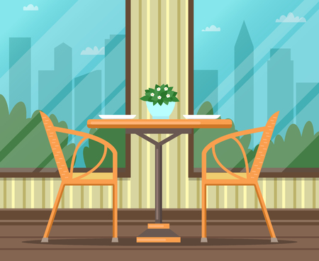 Interior of empty restaurant, cafe. Flat design. Vector illustration. 向量圖像