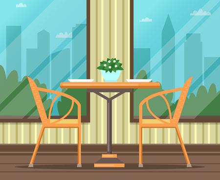 Interior of empty restaurant, cafe. Flat design. Vector illustration. Illustration