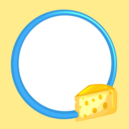 Blue frame on yellow background, decorated cheese. Vector illustration.