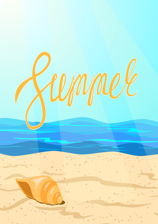 The word summer on the background of the ocean coastline. Vector illustration. Illustration