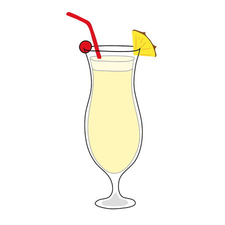 Pinacolada cocktail. Hand drawn style.