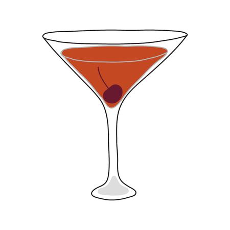 The Manhattan cocktail. Hand drawn style.