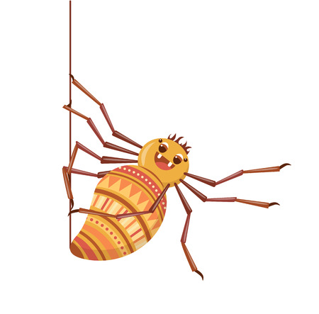 Spider weaves his web. Cute cartoon tarantula. Isolated on a white background. Vector illustration.  イラスト・ベクター素材