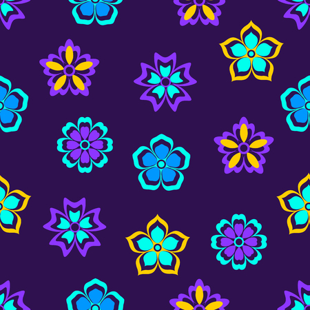 Floral seamless pattern. Night violets. Abstract background. Vector illustration.  イラスト・ベクター素材