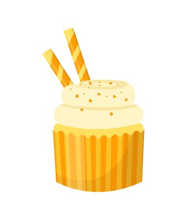 Cupcake. Isolated on white background. Vector illustration. Ilustracja