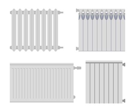 Heating radiator set. Isolated on white background. Vector illustration.