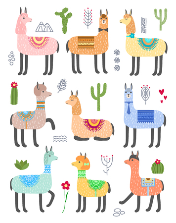 Set of alpacas, llamas and cacti. Isolated objects on white background. Vector illustration.