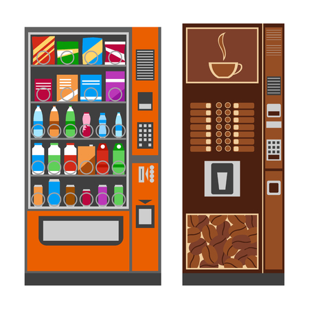 Vending machines with coffee, water, chips. Flat design. Vector illustration.