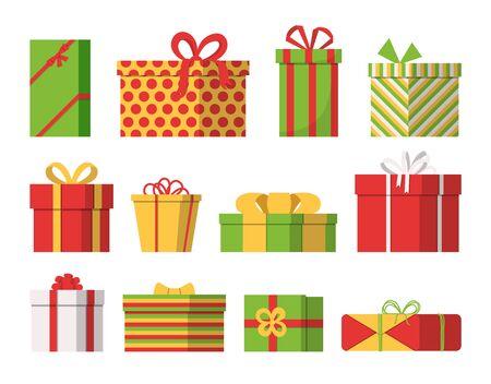 Set of Christmas gift boxes Isolated on white Ilustracja