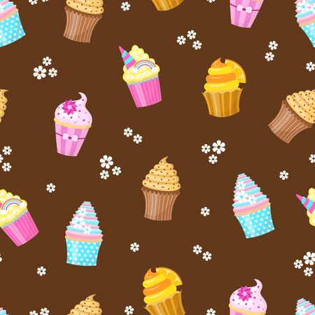Cupcakes Seamless pattern. Ilustracja
