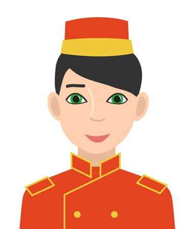 Hotel doorman in red uniform. Avatar of man in a cap and doublet. Isolated on a white background. Vector illustration.