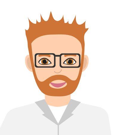 Scientist, doctor. Avatar of man in white uniform. Vector illustration. Ilustracja