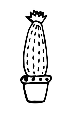 Flowering cactus isolated on a white background. Hand drawn style. Sketch, black outline. Vector illustration.
